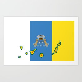 Canary Islands Flag with Map of the Canary Islands Islas Canarias Art Print