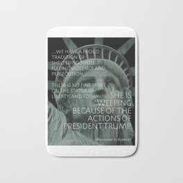 Albright Quote about Refugees Bath Mat