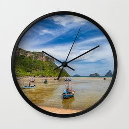 Fishing Boats Thailand Wall Clock