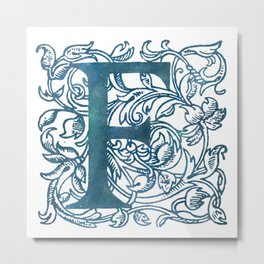 Letter F Antique Floral Letterpress Monogram Metal Print