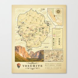 "California's ""Yosemite Nat'l Park"" Vintage Area Map Canvas Print"