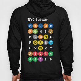 New York City subway alphabet map, NYC, lettering illustration, dark version, usa typography Hoody