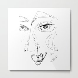 Doodle Face 12 by Kathy Morton Stanion Metal Print