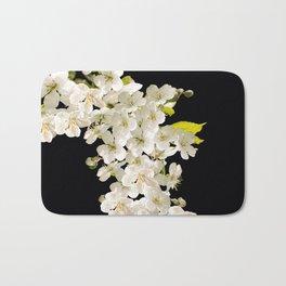 Cherry Flowers On Black Background #decor #society6 #buyart Bath Mat