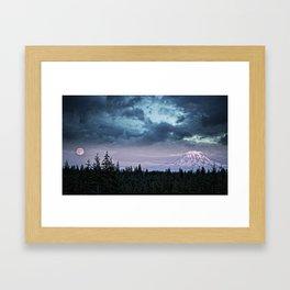 Mount Rainier's Moon Framed Art Print