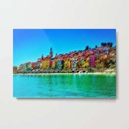 Menton, South of France Landscape Painting by Jeanpaul Ferro Metal Print