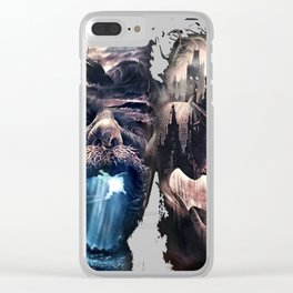 sunken ship girl in the city Clear iPhone Case