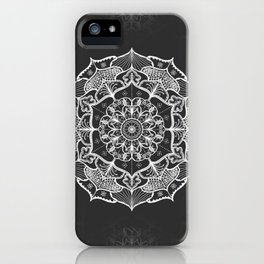 dark gray bw grey mandala pattern design iPhone Case