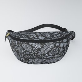 Flora in black leather Fanny Pack