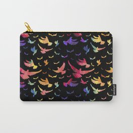 Colorful bird pattern black Carry-All Pouch