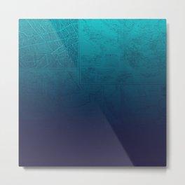 Blue Ombre Map Metal Print