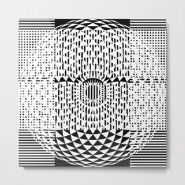 Black White Geometricals With Mandala Metal Print
