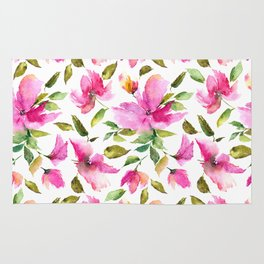 Pink flowers. Watercolor lovely florals. Rug