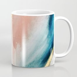 Celestial [3]: a minimal abstract mixed-media piece in Pink, Blue, and gold by Alyssa Hamilton Art Coffee Mug