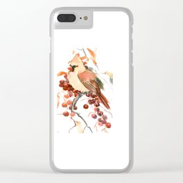 Cardinal and Berries Clear iPhone Case