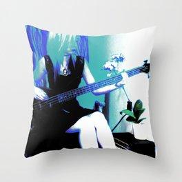 Rock Cameo Bass Blues, Guitar Throw Pillow