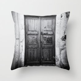 Doors of the World | Wooden Door in Rethymnon Crete, Greece, Europe | Black & White Photography | Travel Photography | Photo Print | Art Print Throw Pillow
