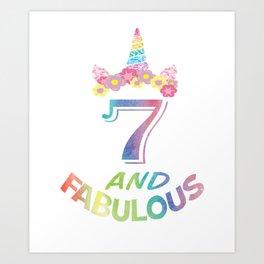 7th Birthday Girl Boy T Shirt 7 Years Old Party Gift Art Print