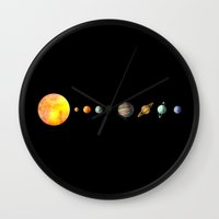 solar system Wall Clocks featuring The Solar System by Terry Fan