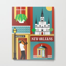 New Orleans, Louisiana - Collage Illustration by Loose Petals Metal Print