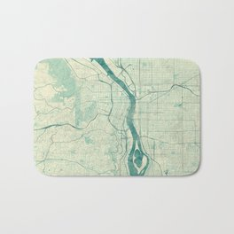 Portland Map Blue Vintage Bath Mat