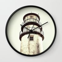 cape cod Wall Clocks featuring cape cod lighthouse by marie grady palcic