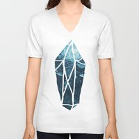 geode V-neck T-shirts featuring Aquamarine Gem Dreams by Leah Flores