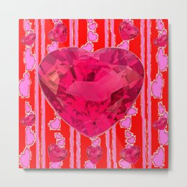 PINK JEWELED RED VALENTINE HEARTS  DESIGN Metal Print