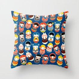 Babushka dolls vibrant pattern Throw Pillow