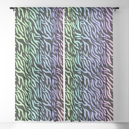 Pastel Rainbow Zebra Stripes (Black Background) Sheer Curtain