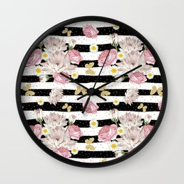 Butterfly Floral Wall Clock