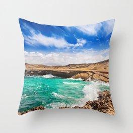 Choppy seas on Aruba's North Shore Throw Pillow