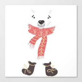 Christmas cute bear. Winter design illustration Canvas Print