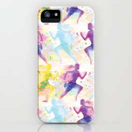 Watercolor women runner pattern iPhone Case