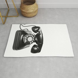 Telephone, Vintage, Black and White Photography Rug