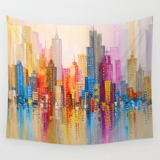 Rainbow city Wall Tapestry