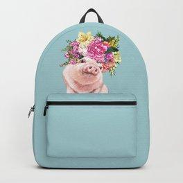 Flower Crown Baby Pig in Blue Backpack