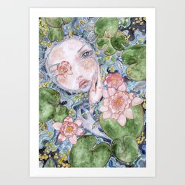 Watercolor doll in the water Art Print