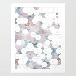 Abstract Snow on Soft Geometry #abstractart #winterart Art Print