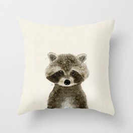 little raccoon Throw Pillow