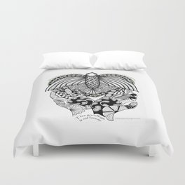 This goodbye is not forever Sympathy  - Zentangle Illustration Duvet Cover