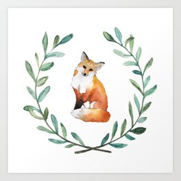 Fox Wreath Art Print