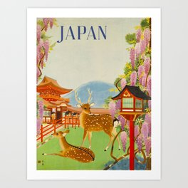 Vintage Mid Century Modern Japan Travel Poster Deer Red Pagoda Wisteria Garden Art Print
