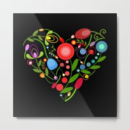 Floral heart on black Metal Print
