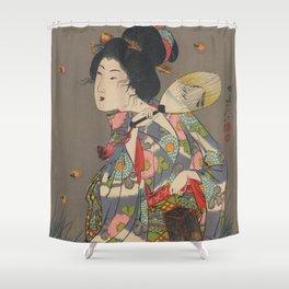 Japanese Art Print - Woman and Fireflies Shower Curtain