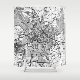 Vintage Map of Hanover Germany (1895) BW Shower Curtain