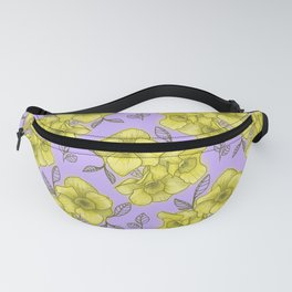 daffodil with purple background Fanny Pack