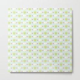 Sweet Green Apple Slices Pattern Metal Print
