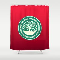 """meme Shower Curtains featuring """"Merry Christmas"""" Coffee Cup Funny Meme by BlackStrawberry"""