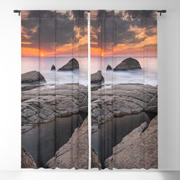 Orange sunset by the sea Blackout Curtain